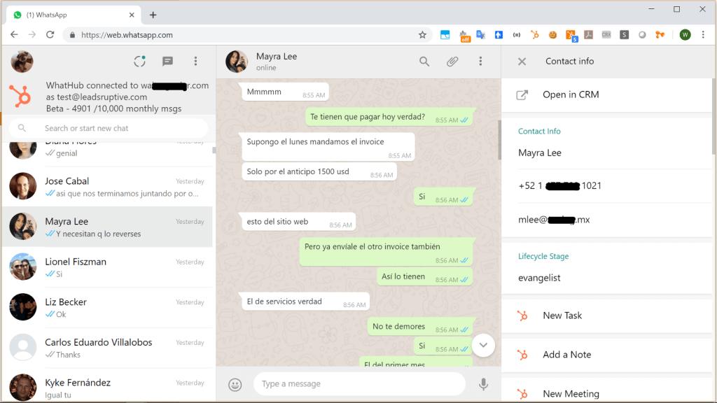 whathub hubspot whatsapp integration